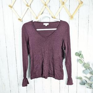 14th & Union Burgundy Fig Heather Bell Sleeve Top